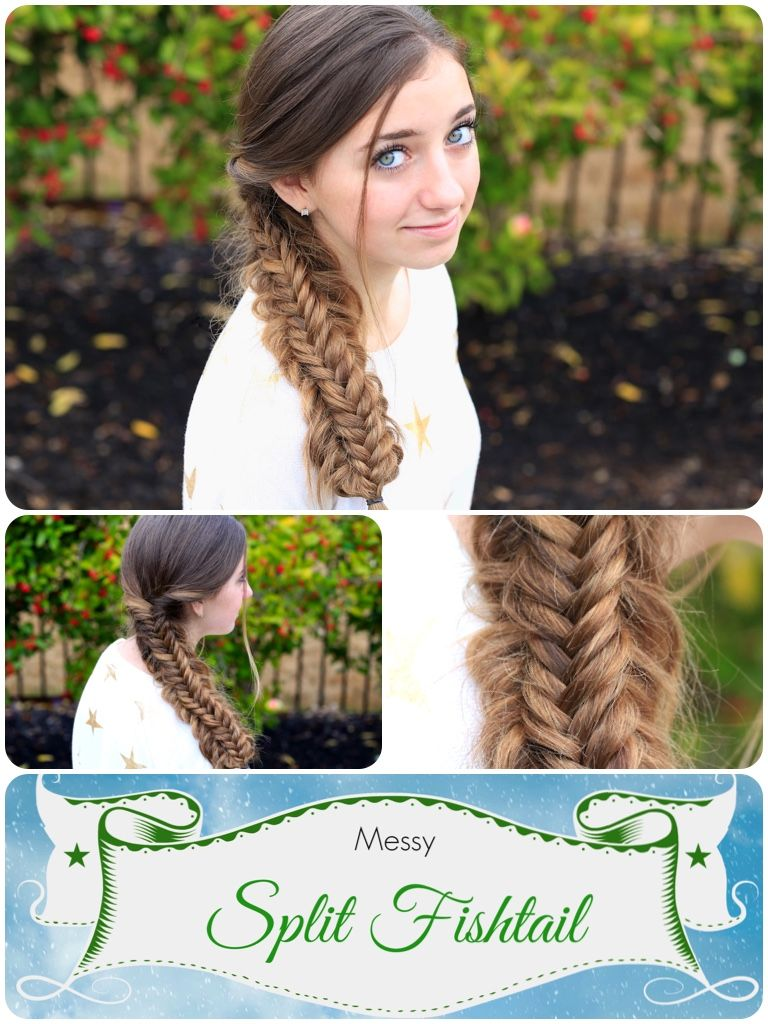 Messy split fishtail braid looks crazy complicatedbut itus easy