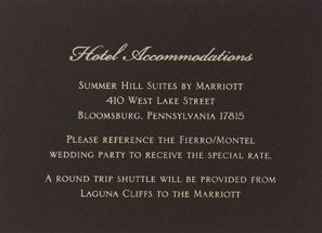Accommodations Cards For Wedding Invitation