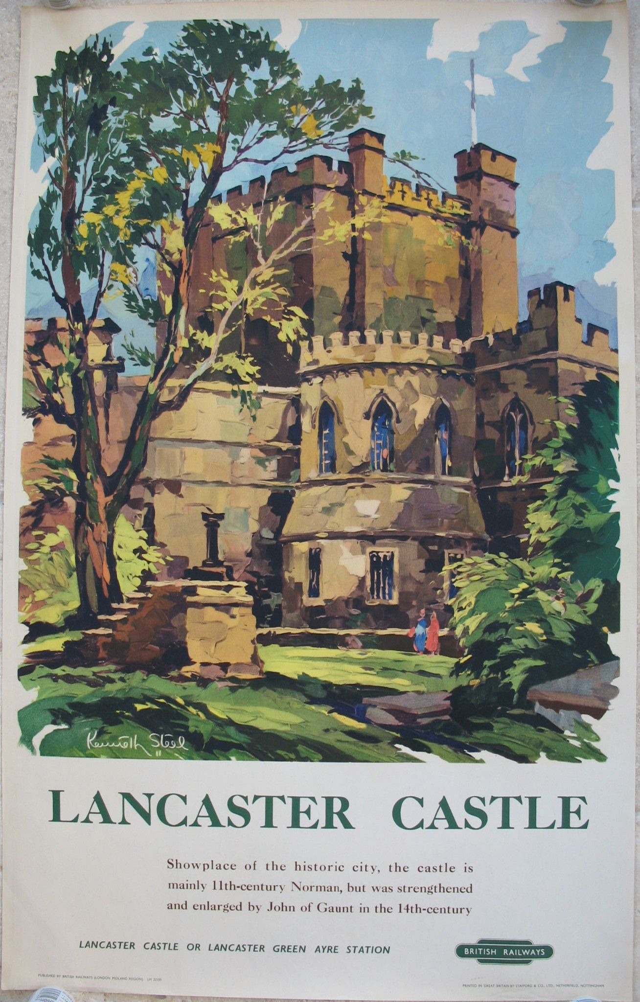 Lancaster Castle, by Kenneth Steel. A lovely peaceful image inside the walls of the Norman castle in the late 1950s, probably looking towards Hanging Corner. Original Vintage Railway Poster available on originalrailwayposters.co.uk