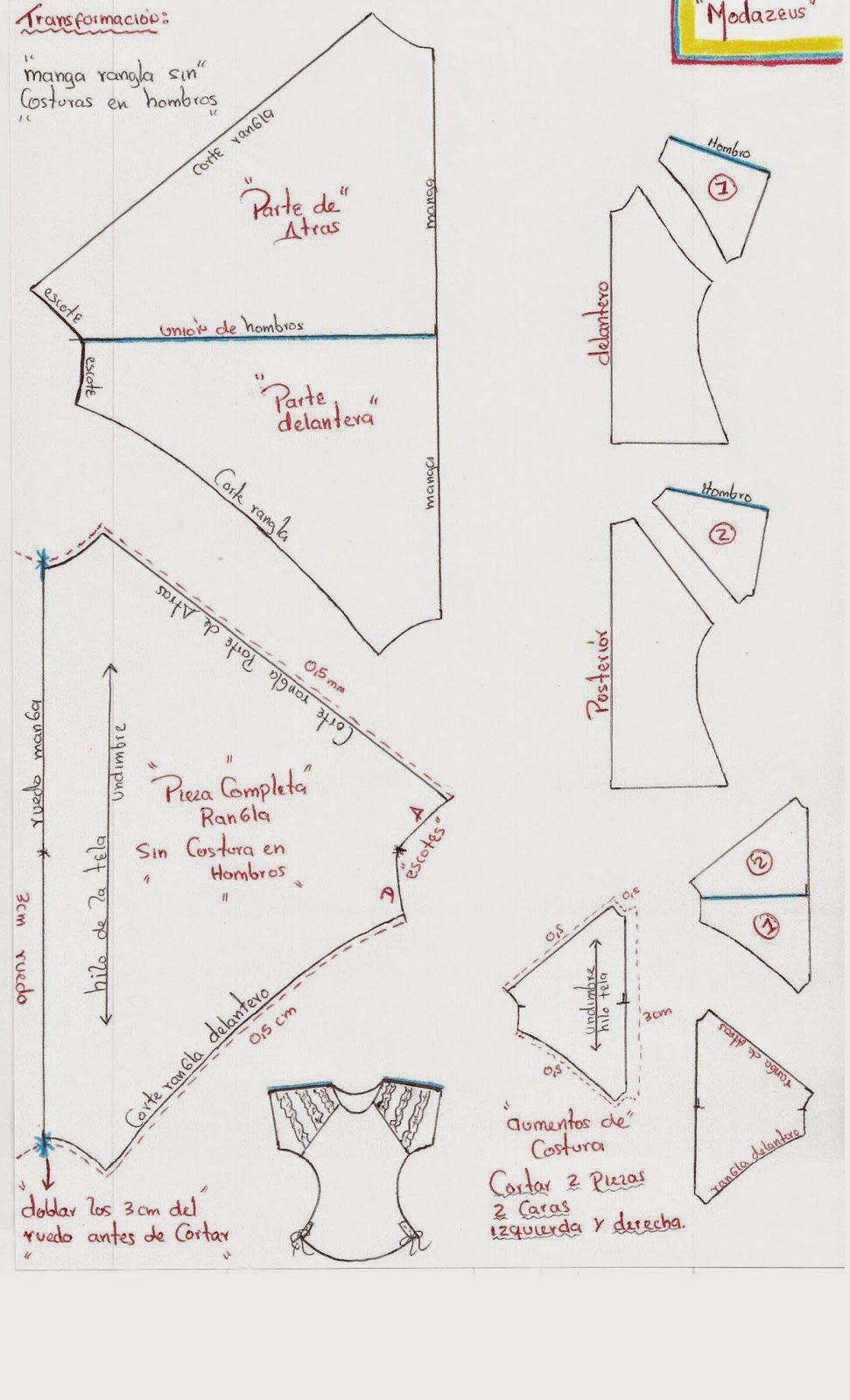 mangas ranglan | Patrones | Pinterest | Costura, Ropa y Blusas
