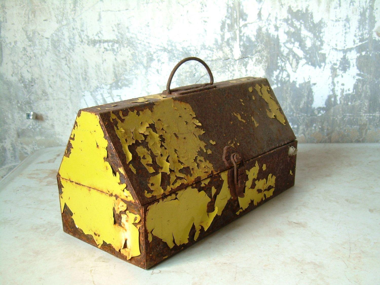Vintage Rustic Industrial Toolbox (55.00 USD) by TheArtifactoryStudio