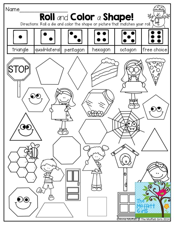 Roll and Color a Shape! Such a FUN activity that helps