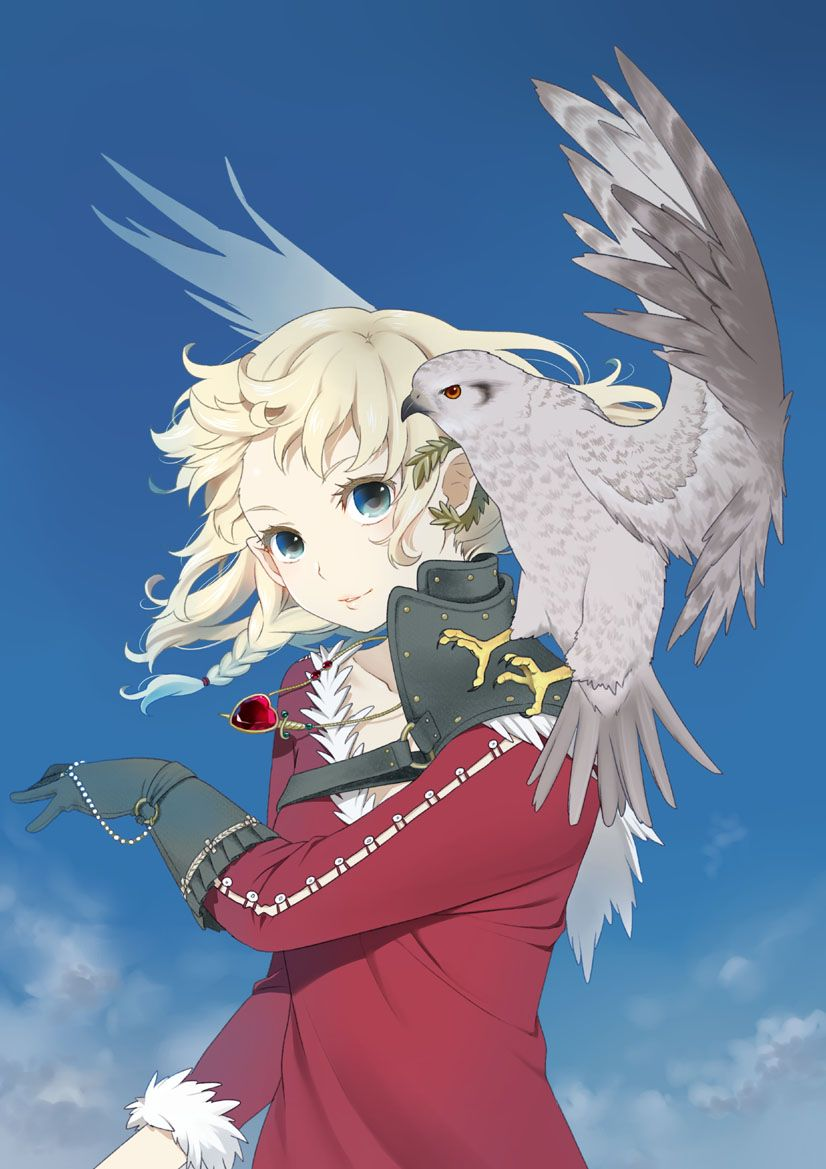 Anime girl with blonde hair, blue eyes, glove, sweater