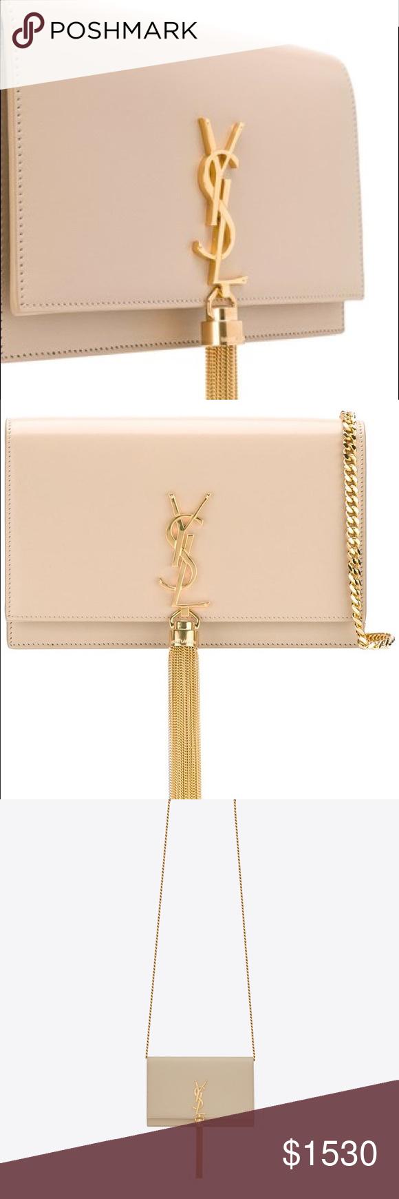 YSL Monogram Small Kate Tassel Cross Body Bag CLASSIC SAINT LAURENT CHAIN  WALLET IN POWDER WITH bf038b12fe506
