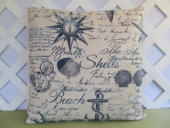 Beach Theme Pillow Cover in Blue and Ivory / Nautical Pillow /