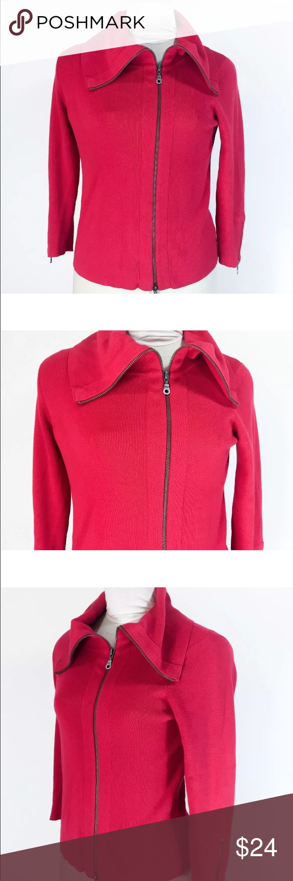 "Cabi Red Sweater Zip It Style #285 Wide Collar Cabi Red Sweater Zip It Style #285 Wide Collar Cardigan Cotton Rayon Sz S  Measurements- Taken Flat  Pit to pit (doubled)- 36""  Length- Top of Shoulder to Bottom Hem- 23""   Sleeve length- Shoulder Seam to Cuff- 20""   Width at hem (doubled)- 38""  Please check your measurements before purchasing!   Bin#22 CAbi Sweaters Cardigans"