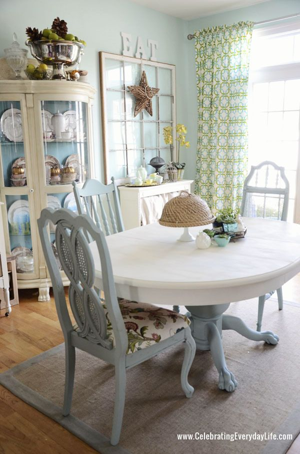 Dining Table And Chairs Makeover With Annie Sloan Chalk Paint Old White Duck Egg