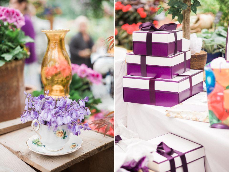 violet wedding gifts and details