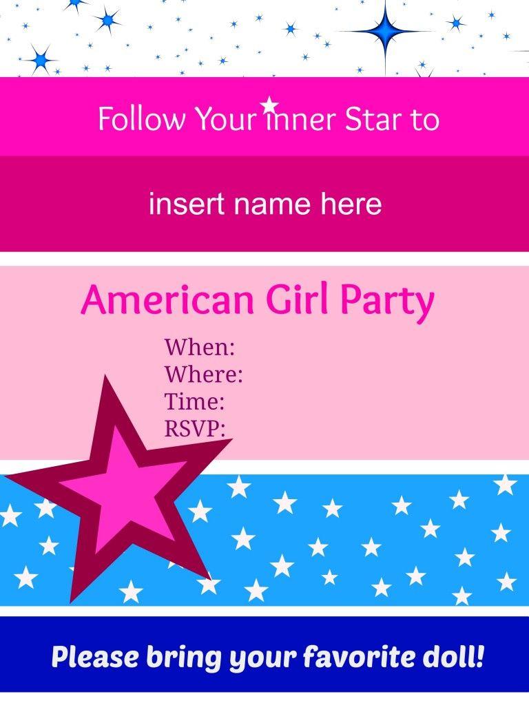 American Girl Birthday Party Invitations: Free Printables | American ...