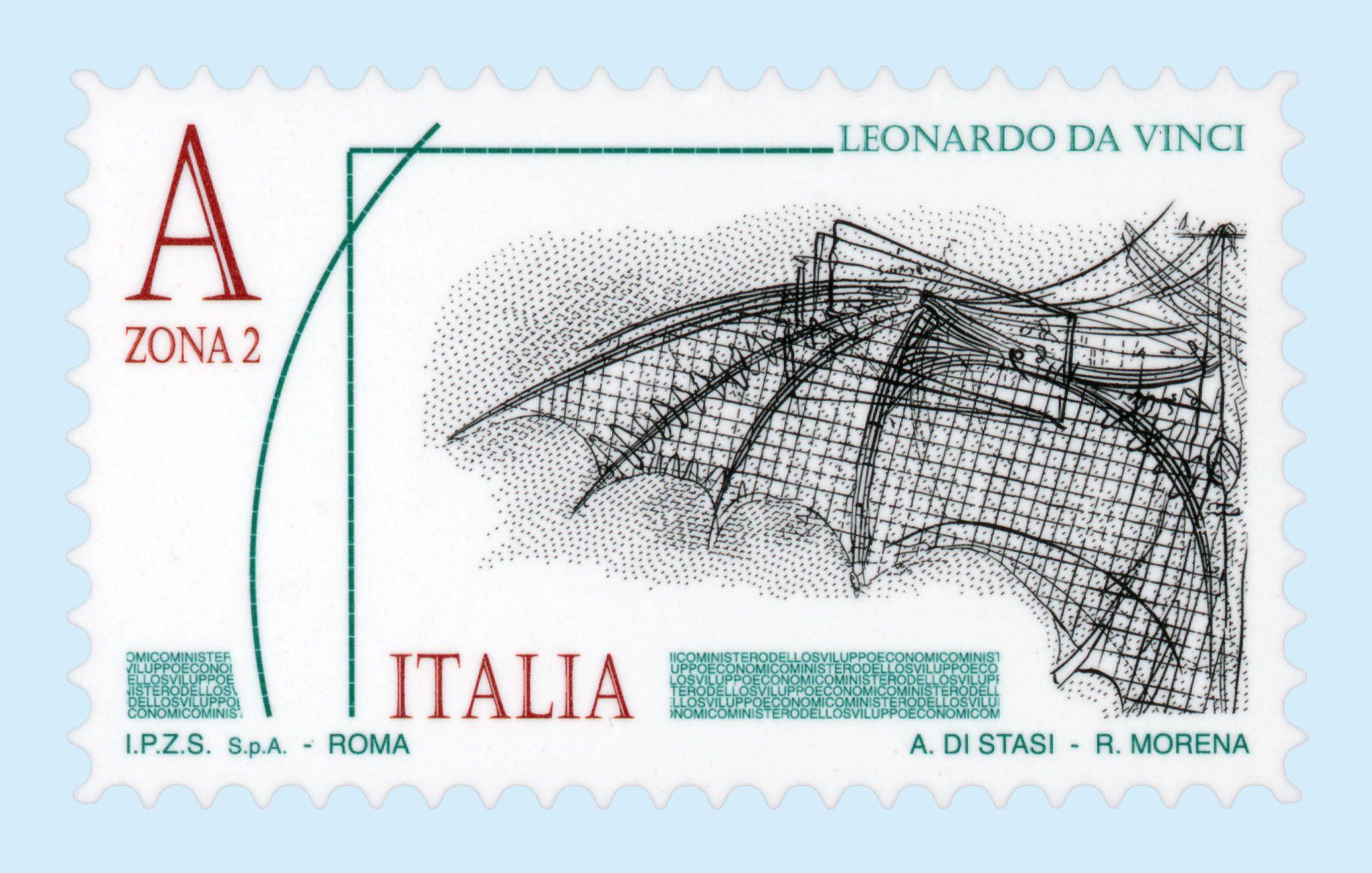 Ala Meccanica Particolare Del Codice Atlantico Esposto Nella Veneranda Biblioteca Ambrosiana Di Mila Francobolli Filatelia Leonardo Da Vinci