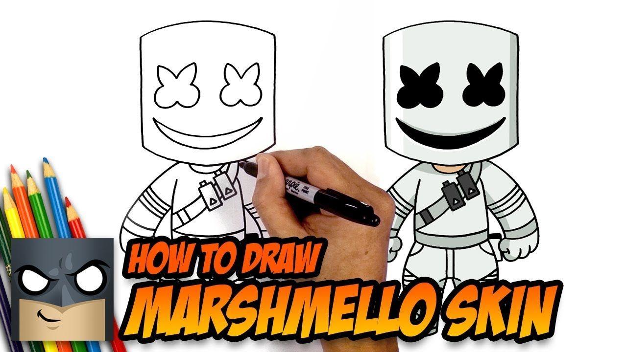 How To Draw Marshmello Skin Fortnite Step By Step Tutorial Drawing Tutorial Cartooning 4 Kids Easy Cartoon Drawings