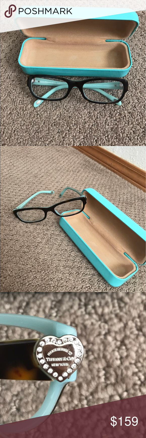 Tiffany & Co Eyeglasses 100% Authentic Tiffany & Co eyeglasses. Script can be changed! Comes with case and soft pouch. Beautiful brown tortoise shell color with rhinestones on the side! All intact . Smoke free home Tiffany & Co. Accessories Glasses