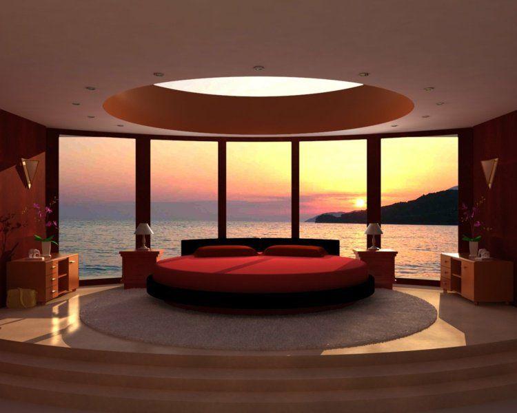 Lit Rond Design En Rouge Et Plafond à Ciel Ouvert Dans La Chambre Moderne