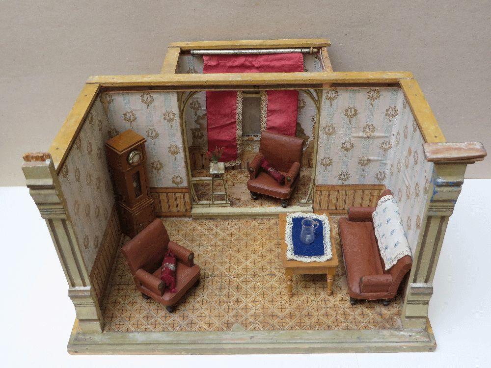 Alte Puppenstube mit Erker um 1900 Gottschalk ? Puppenhaus Salon ...