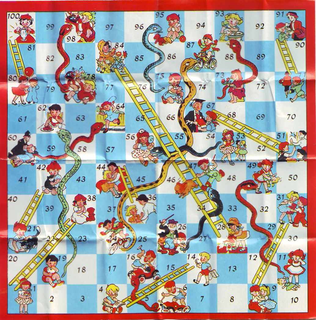 Image result for SNAKES AND LADDERS BOARD GAME TRADITIONAL CHILDREN GAMES X