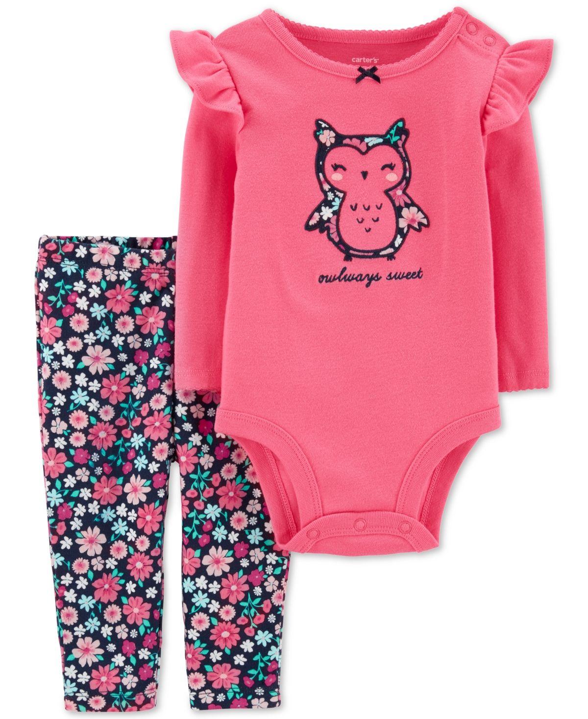 Carters 6 9 18 24 Months 3-Piece Owl Bodysuit Pants Set Baby Girl Clothes Mint