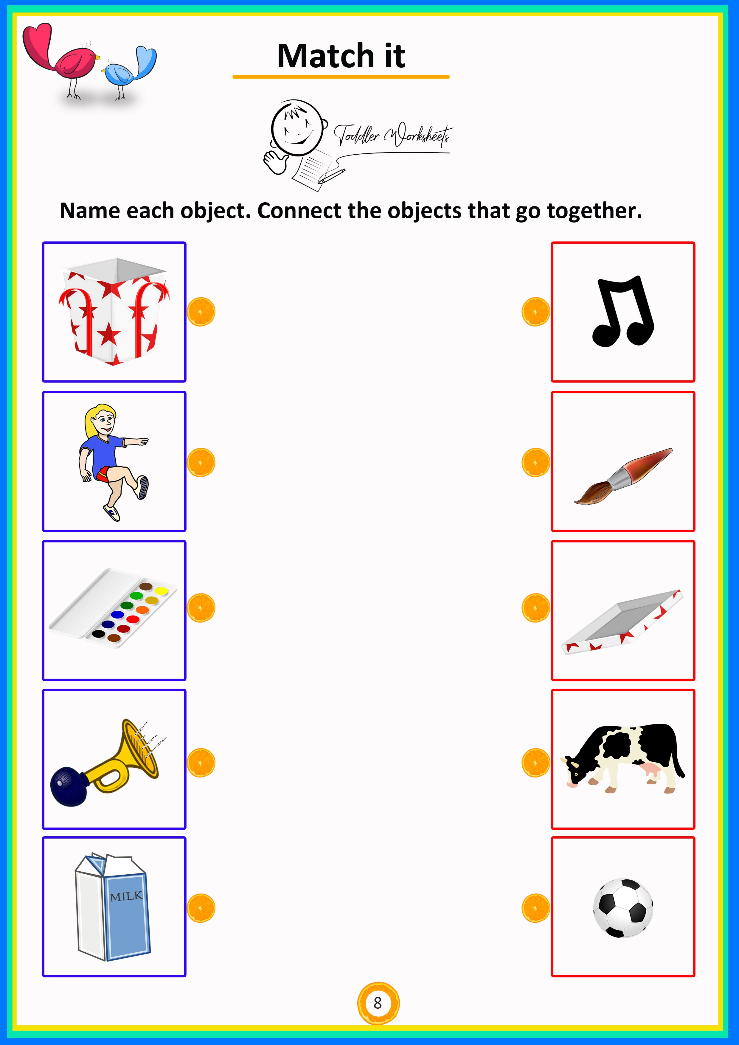 Match It 8 Simple Math Worksheets For Toddlers