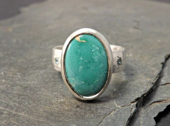 turquoise ring with topaz  rustic silver ring  by CrazyAssJD