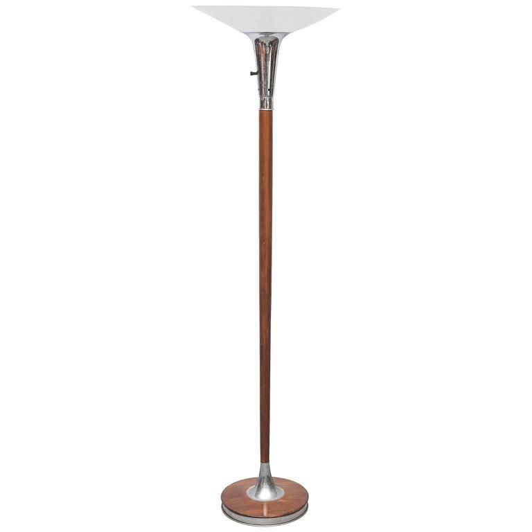 Lovely Wood Chrome And Glass Floor Lamp Or Torchiere Usa 1940s Glass Floor Floor Lamp Torchiere Floor Lamp