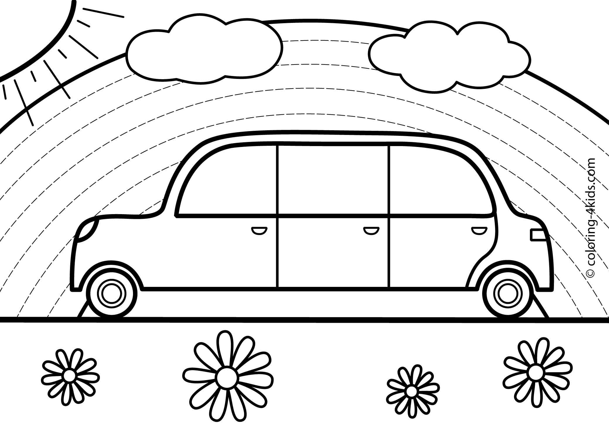 Rainbow Car Transportation Coloring Pages For Kids
