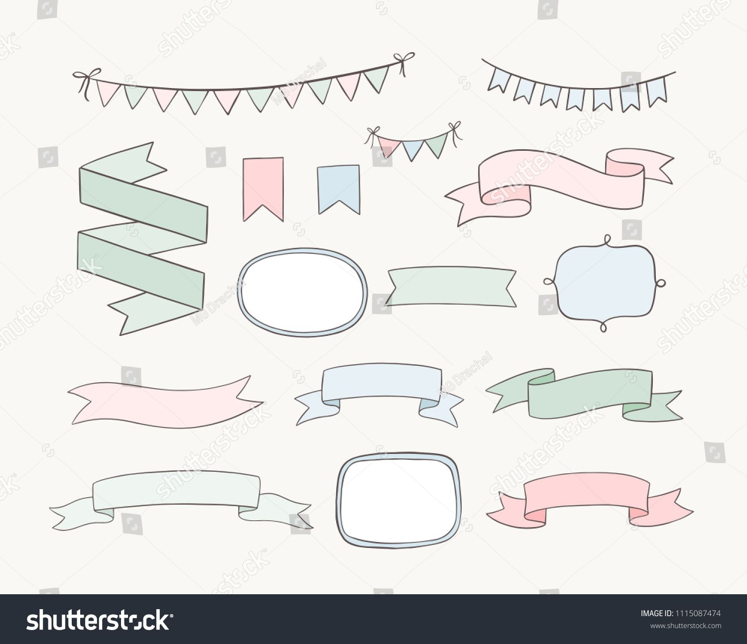Set Of Hand Drawn Design Elements Vector Doodle Banners Ribbons