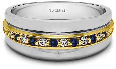 and Sapphire Classic Mens Ring Sterling Silver Diamonds G,I2 0.2crt