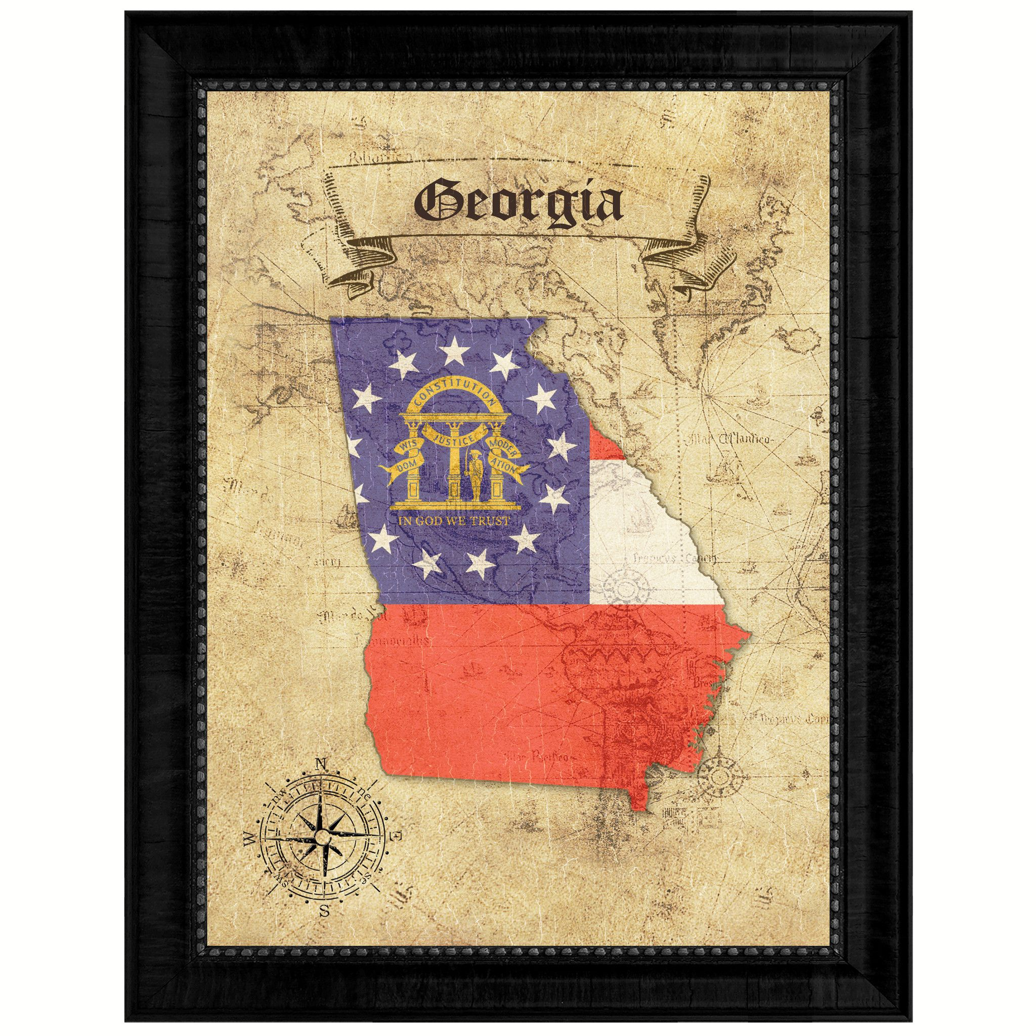 Georgia State Vintage Map Gifts Home Decor Wall Art Office ...