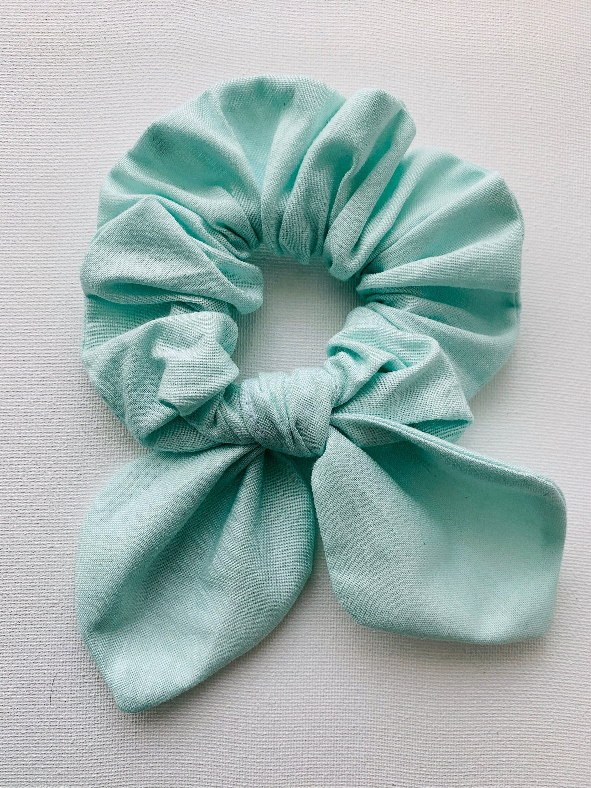 Sky Blue Hair Scrunchie, Scrunchy, Top Knot, Hair Tie, Hair Elastic, Hair Accessories, Gift, Present, Handsewn #hairscrunchie