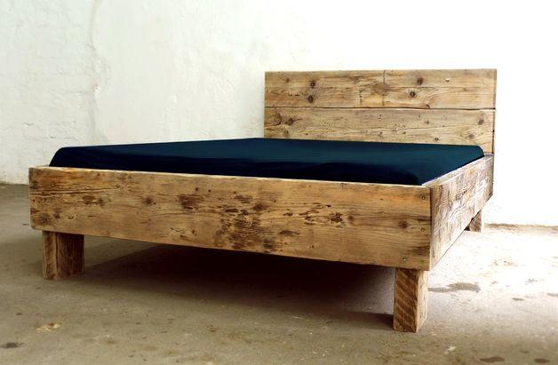 Betten Individuelles Design Bett Aus Bauholz 140 X 200 Ein Designerstuck Von Up Cycle Bei Dawanda Designer Bett Bauen Mit Holz Bett Bauen