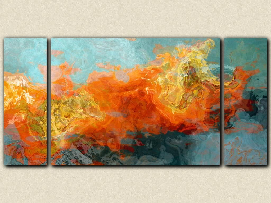 Abstract Art 30x60 Sofa Sized Triptych Gallery Wrap Canvas Print In Orange And Blue From Painting Electric Illusion