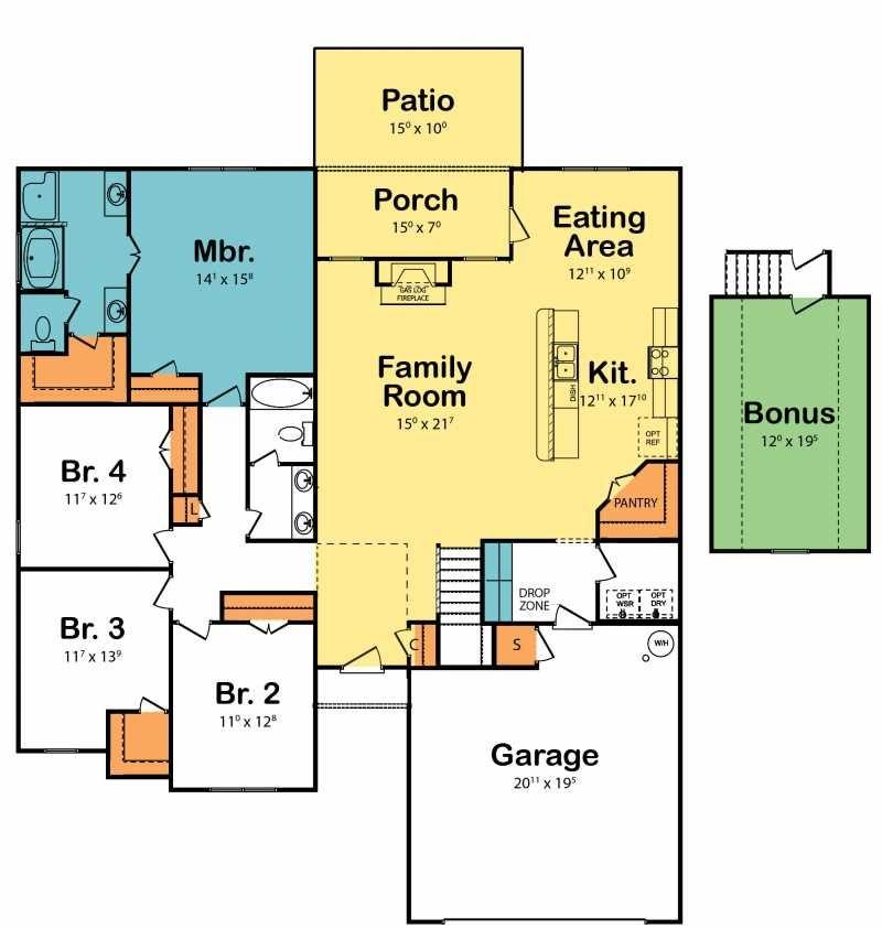Fabulous 4 bedroom floor plan with open family room ...