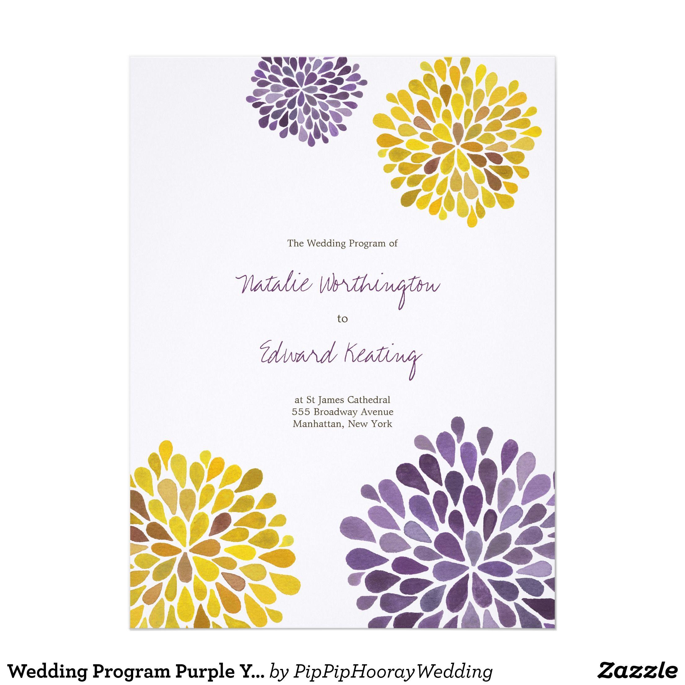 Wedding Program Purple Yellow Flower Blooms   Wedding invitations ...