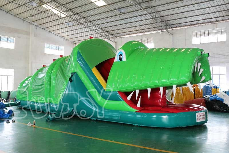 Giant Inflatable Crocodile Bouncer, Bounce House Obstacle Course Combo For  Sale At Sunjoy.