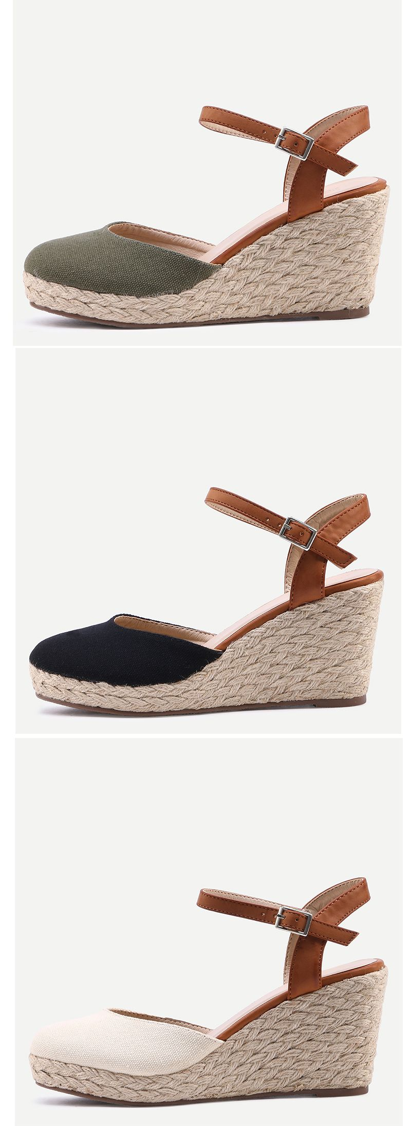 Round Toe Ankle Strap Wedge Sandals. Vintage wedge sandals with ankle strap and round toe. Lovely & comfortable shoes for summer. #shoewedges