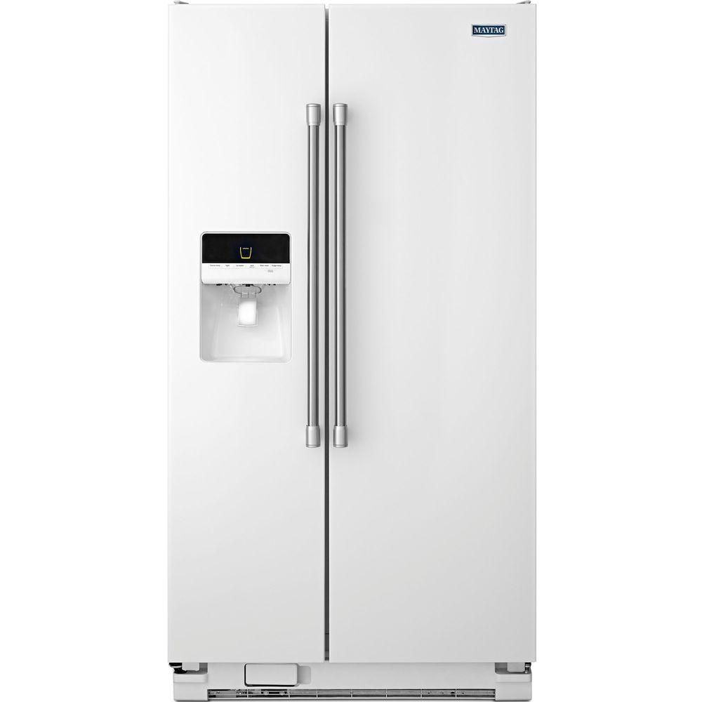 Maytag 24 6 Cu Ft Side By Side Refrigerator In White With