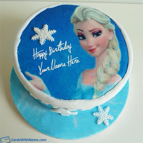 Frozen Birthday Cake With Name Edit