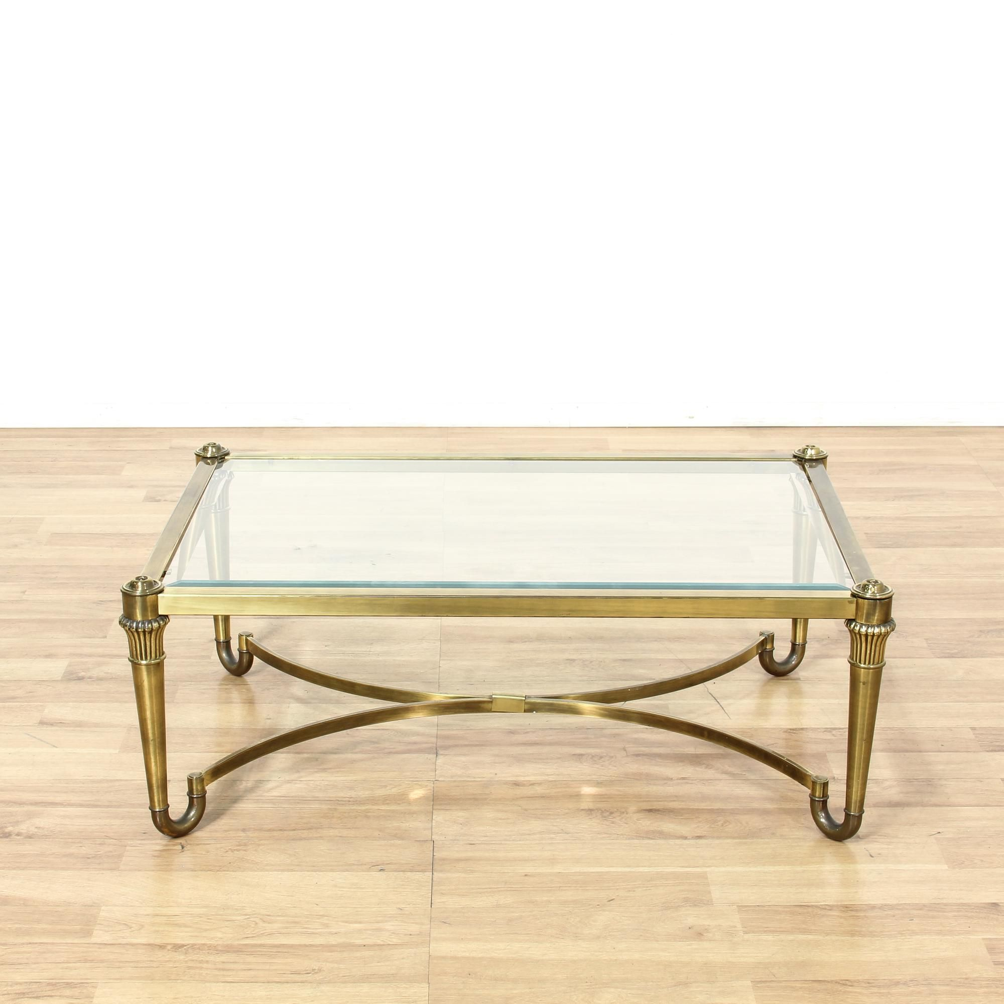 This Hollywood Regency Coffee Table Is Featured In A Durable Metal With A Shiny Brass Finish This Coffee T Glass Top Coffee Table Coffee Table Glass Top Table [ 2000 x 2000 Pixel ]