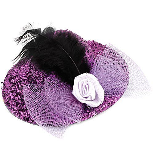 FOREVER YUNG Lady Purple Shiny Tinsel Coated Feather Top Hat Alligator Hair Clip >>> To view further for this item, visit the image link.