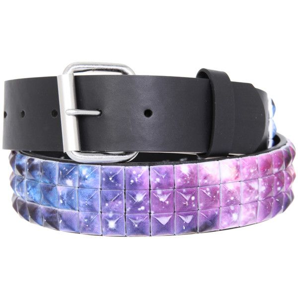 Galaxy Pyramid Stud Belt   Hot Topic ($40) ❤ liked on Polyvore featuring accessories, belts, galaxy and pyramid stud belt