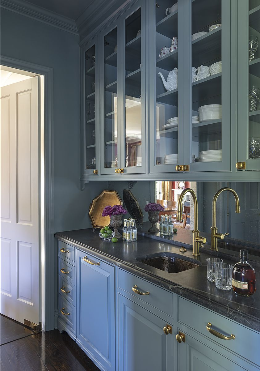 Butlers Pantry With Blue Cabinets Soapstone Counters Brass Sink And Mirrored Back Splash By Al Soapstone Kitchen Blue Cabinets Soapstone Countertops Kitchen