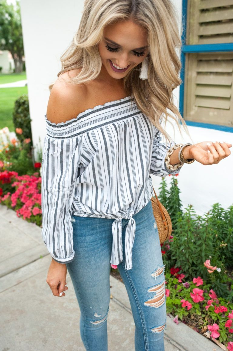 d14692cf5b1301 Striped Off-the-Shoulder Top   Ripped Jeans