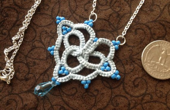 Blue Love  Needle Tatting  Pendant by JewelrybyDenise on Etsy, $18.00