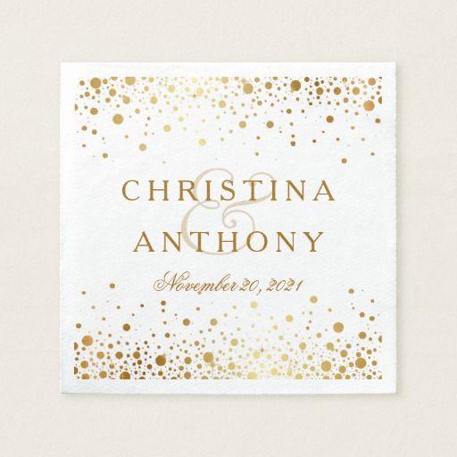 Gold Confetti Wedding Personalized Napkin wedding paper napkins - confeti