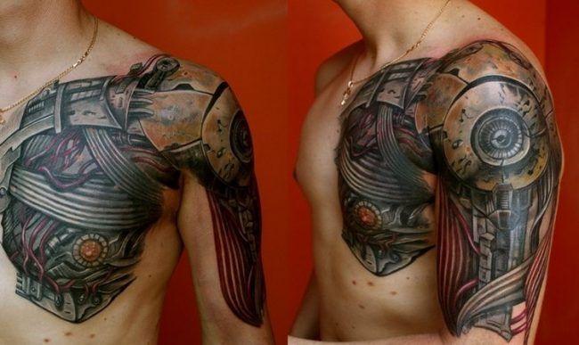biomechanik tattoo oberarm brust gertiebe tattoos. Black Bedroom Furniture Sets. Home Design Ideas