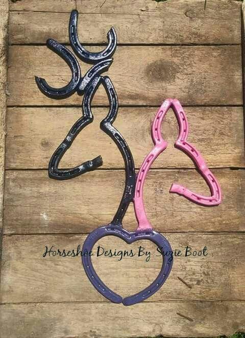 Horseshoe Browning Buck And Doe With Heart Https Www Facebook Com Horseshoedesignssb Welding Crafts Horseshoe Art Welding Projects