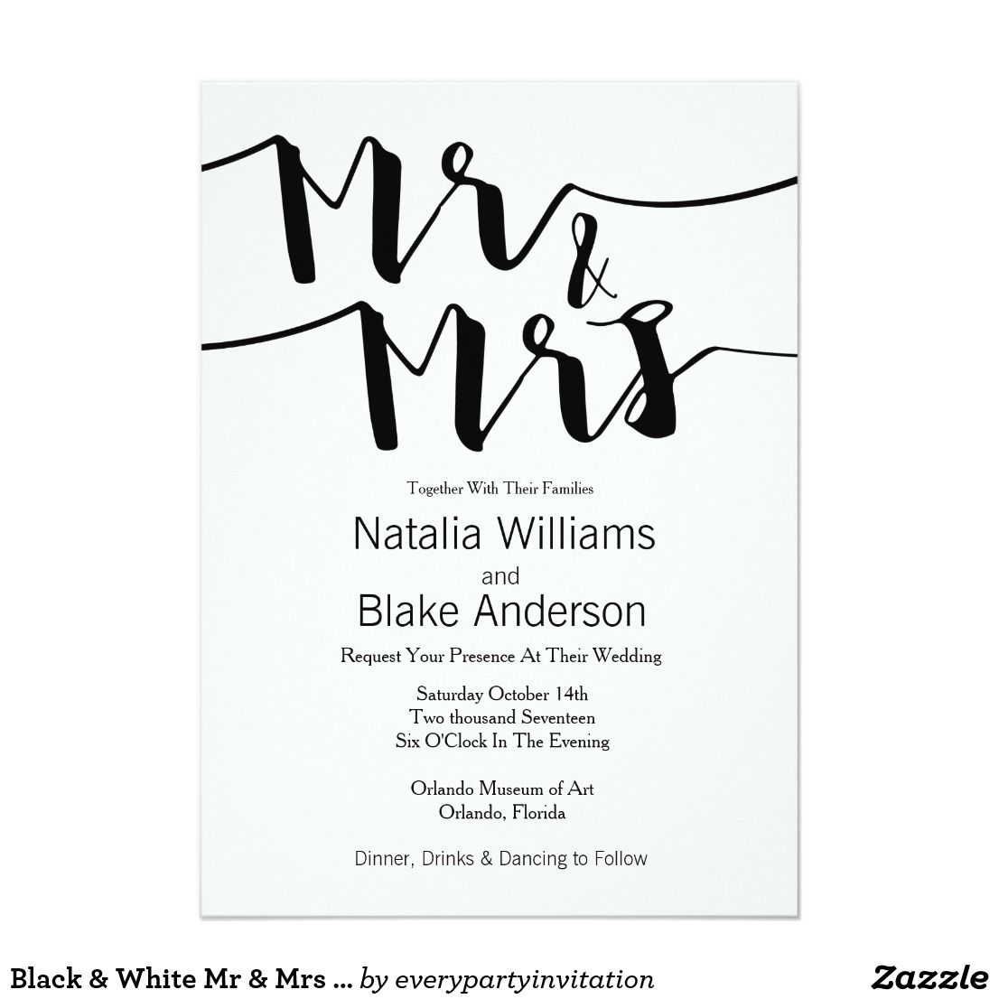 Black & White Mr & Mrs Modern Wedding Invitation | Support small ...
