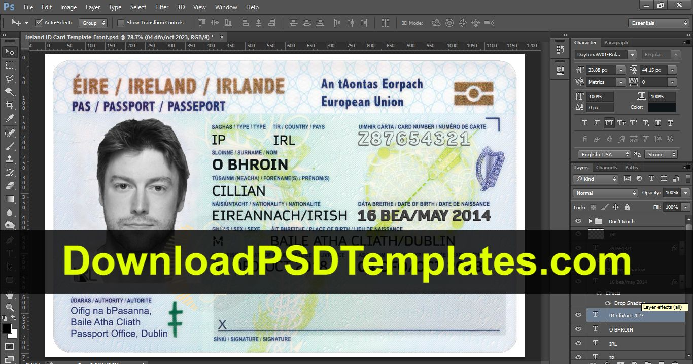 Fake Driving License Templates Psd Files Id Card Template
