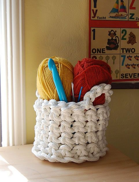 crochet rope basket- really want to make this