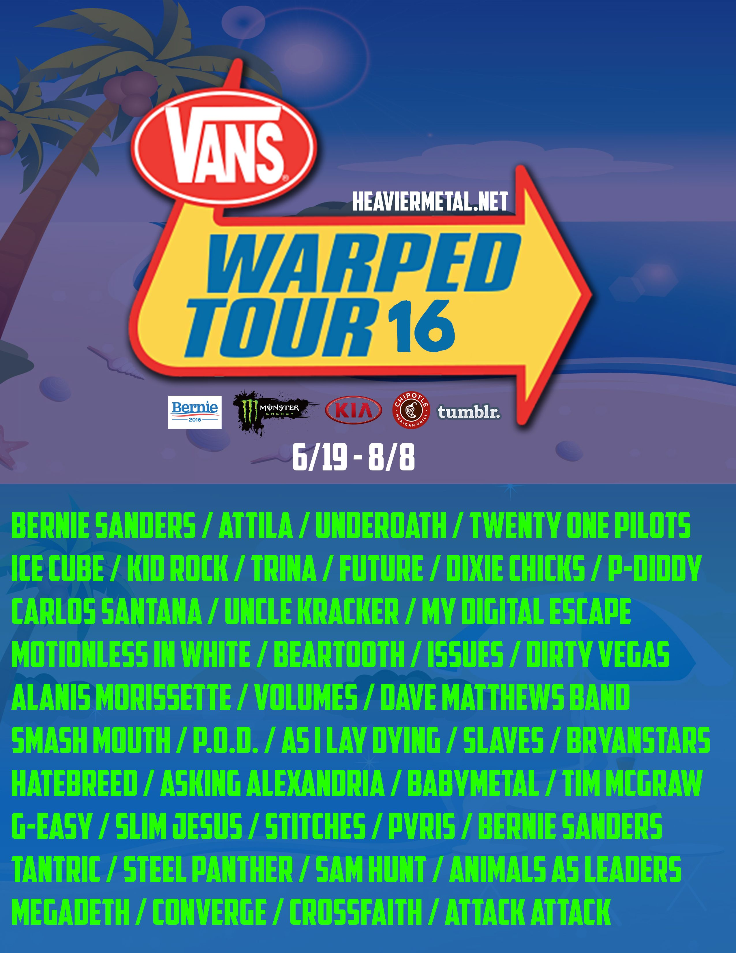 Vans Warped Tour 2016 Show Poster Band Lineup Wait Is This Real Im So Confused