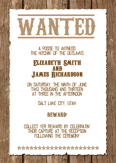 wanted western wedding invitation free template With funny country wedding invitations